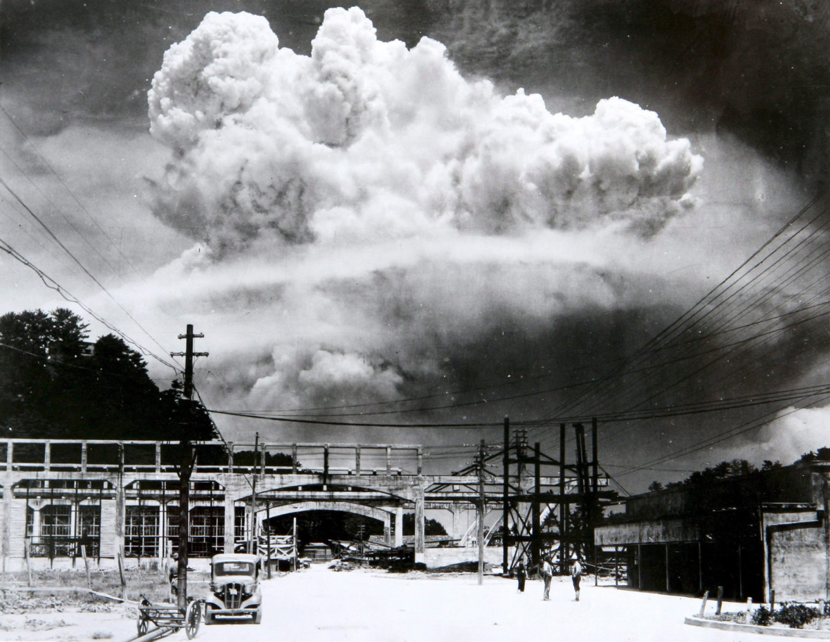 The atomic bomb mushroom cloud over Nagasaki seen from Koyagi-jima on August 9, 1945.