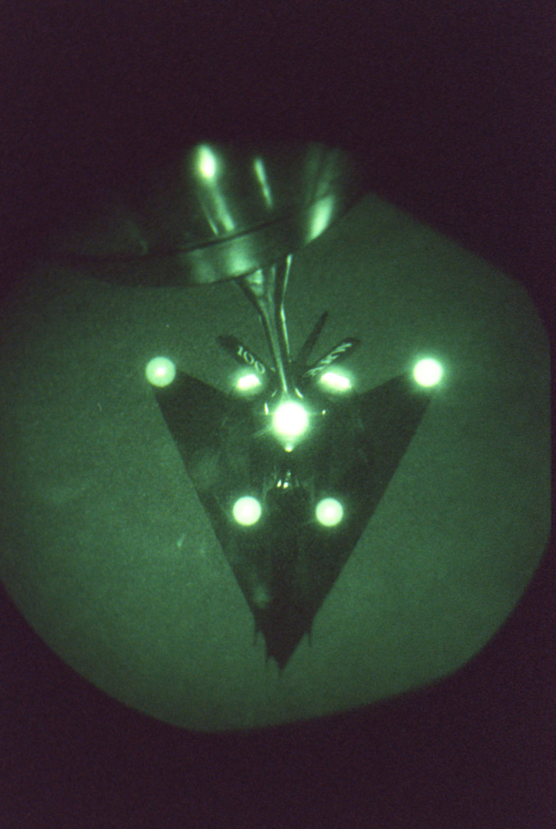A F-117 Nighthawk pictured in night vision, 1999.