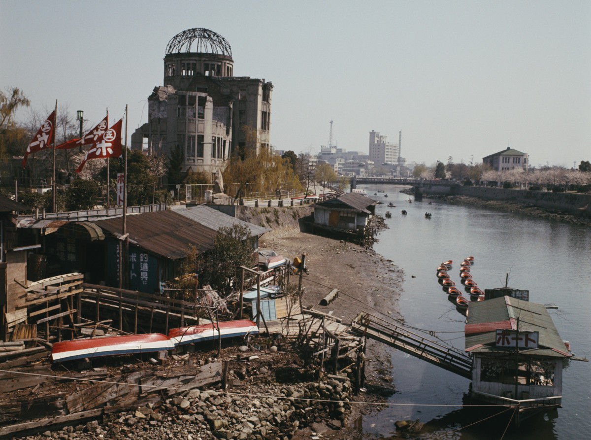 View of the Hiroshima Peace Memorial with the Atomic Bomb Dome (Genbaku Dome), seen from the bank of the Ota River in Hiroshima, Japan in 1965, 20 years after the atomic bomb blast that destroyed the city center.