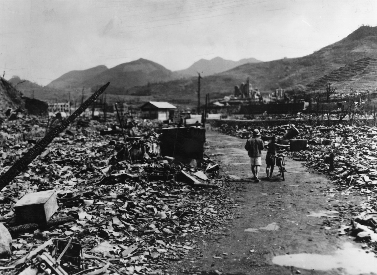 The ruins of Nagasaki after the dropping of the atomic bomb, seen from street level.