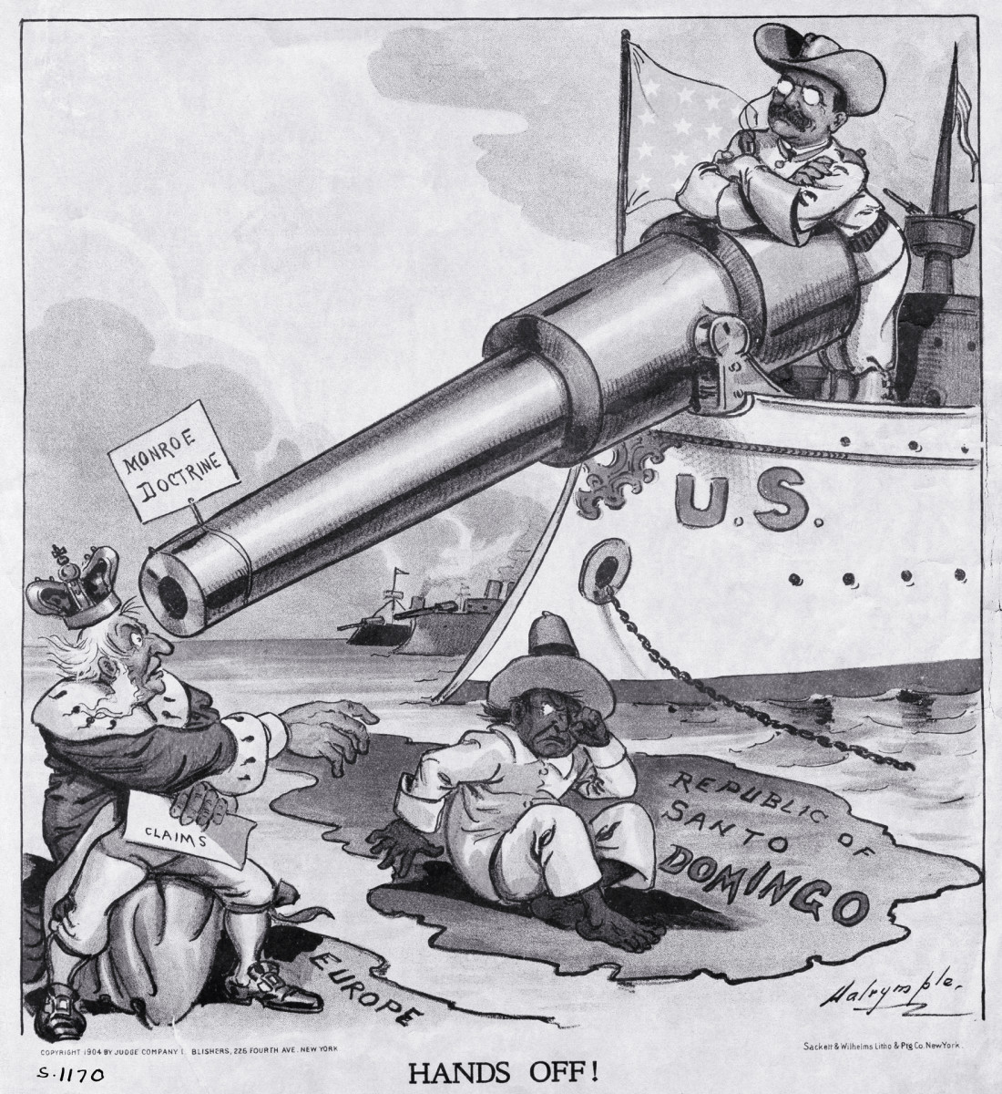 Theodore Roosevelt and the Monroe Doctrine, cartoon