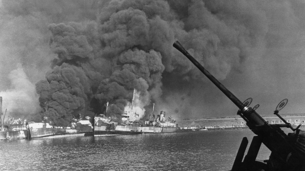 This photograph was made as Nazis staged their successful bombing raid on Allied Shipping in the Harbor at Bari, Italian port on the Adriatic, December 2, 1943.