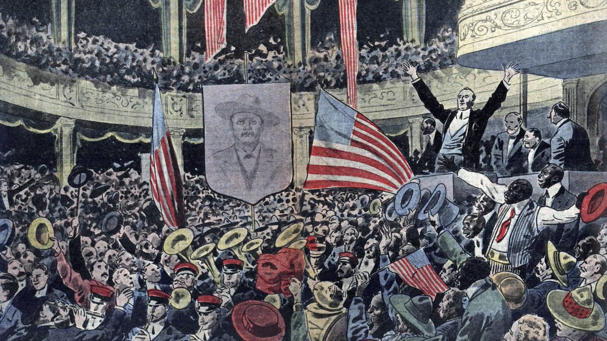 A meeting of the Progressive Party in Chicago supporting the candidate Theodore Roosevelt for the 1912 election.
