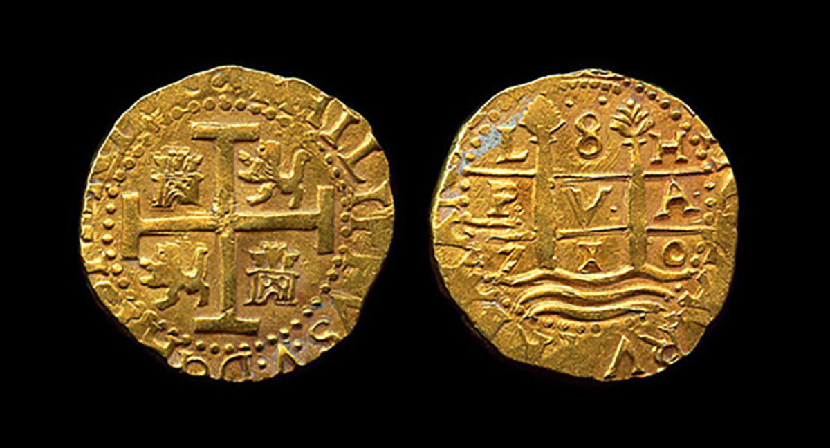 Rare 8 Escudos Lima dated 1710, recovered from the 1715 Fleet.