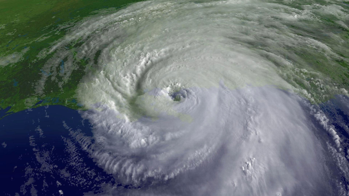 In this satellite image, a close-up of the center of Hurricane Katrina's rotation is seen at 9:45 a.m. EST on August 29, 2005 over southeastern Louisiana. Katrina made landfall that morning as a Category 4 storm with sustained winds in excess of 135 mph.