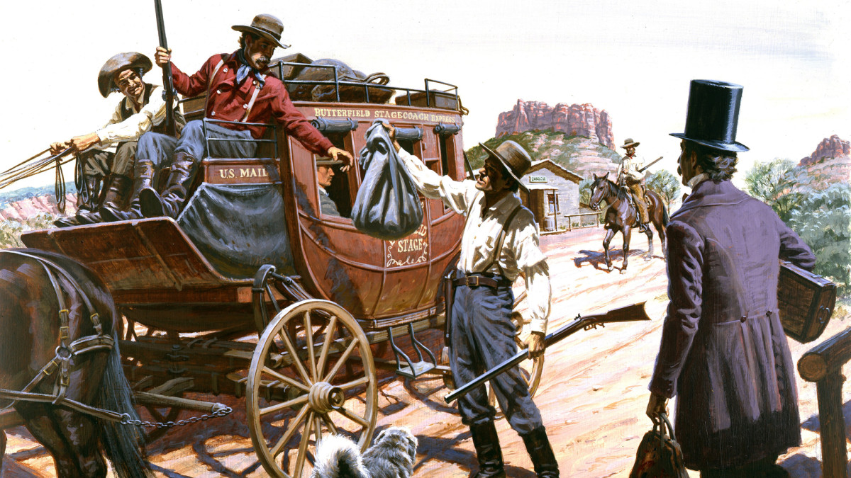 A Butterfield Overland Mail stagecoach, the first overland mail service to California, picking up U.S. mail and passengers circa 1857 in Arizona.