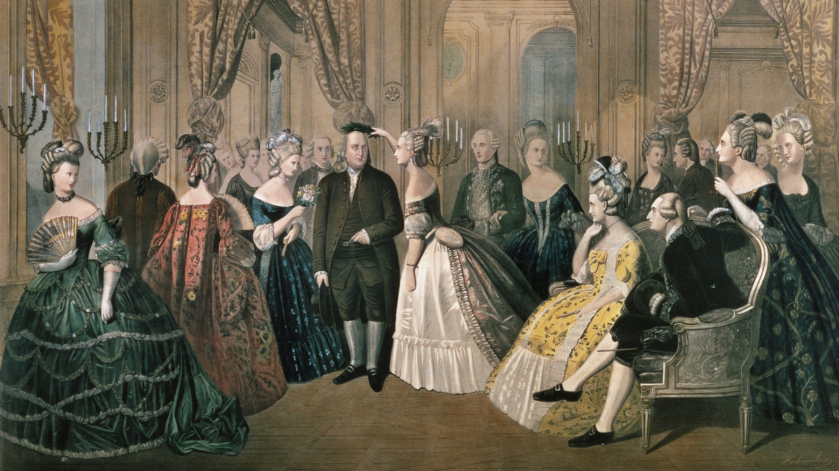 Benjamin Franklin received at the French court in Versailles, 1778.