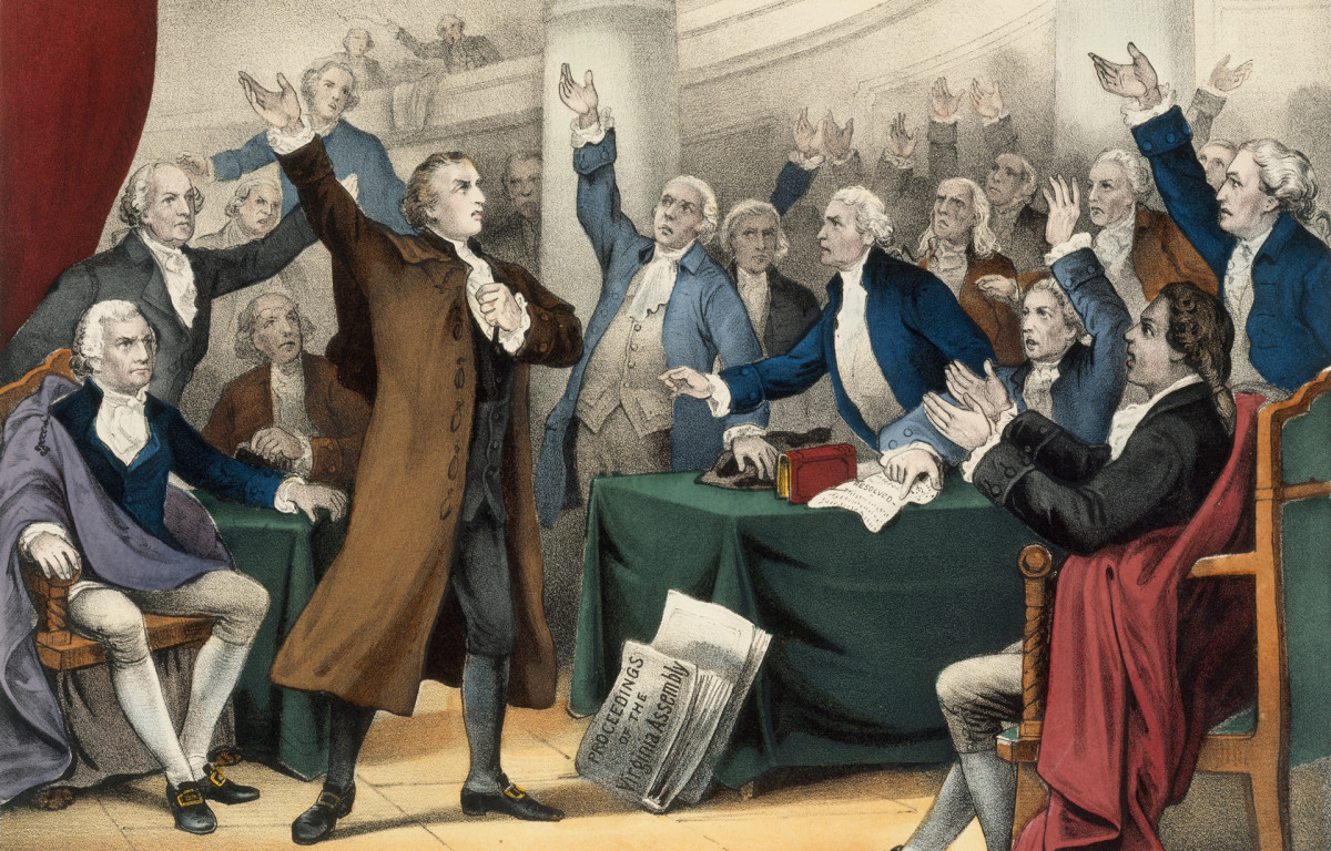 Patrick Henry delivering his famous speech on the Rights of the Colonies, before the Virginia Assembly, convened at Richmond, March 23, 1775.