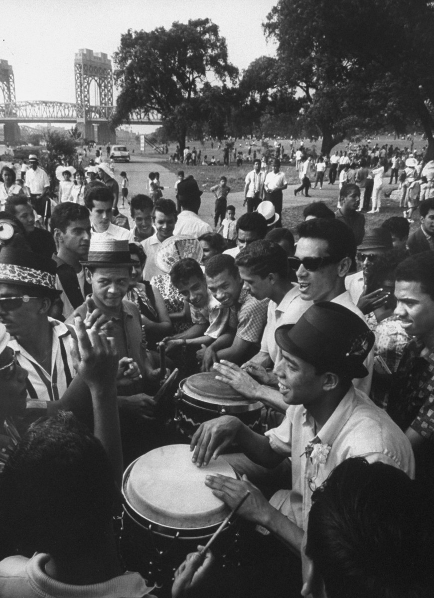 Immigrants celebrating traditional festival of San Juan, in New York City, 1962.