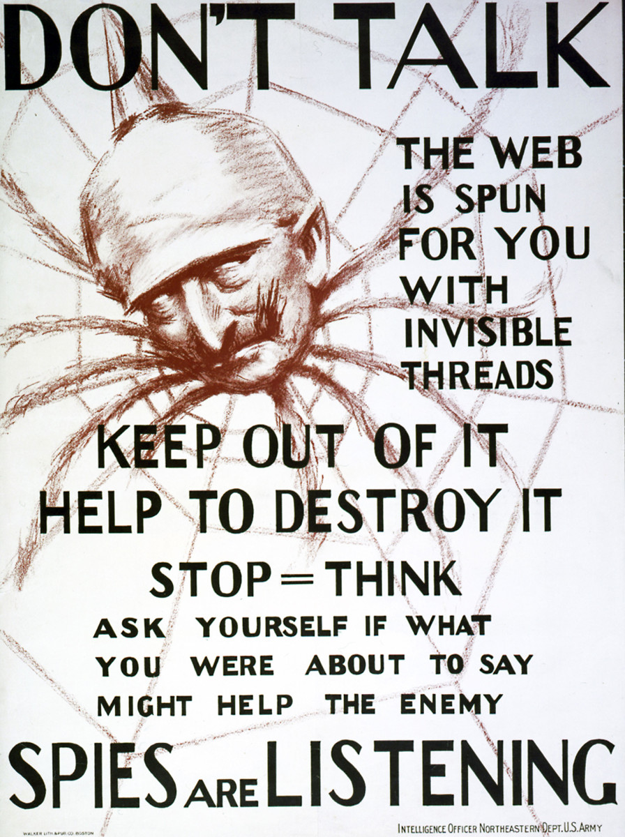 Propaganda poster from the US intelligence office during WWI, depicting Kaiser Wilhelm II as a spider.
