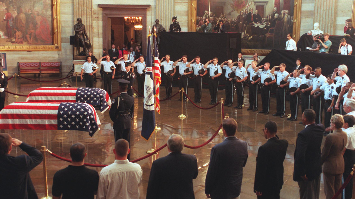 Special Agent John Gibson and Officer Jacob Chestnut Lying in State