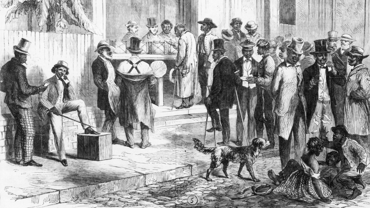 Illustration from the late 1860s depicting freedmen voting in New Orleans.