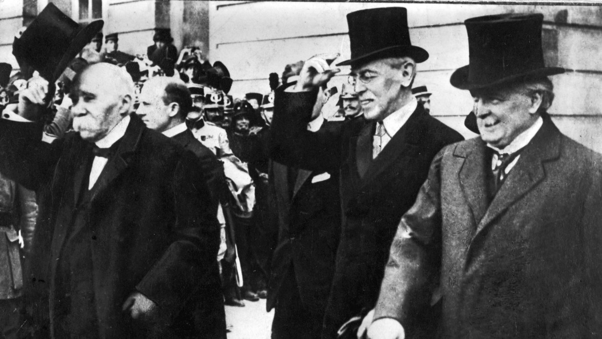 Georges Clemenceau, President Woodrow Wilson and British Prime Minister David Lloyd George during the Paris Peace Conference on June 28, 1919.