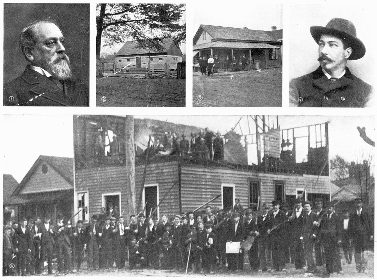 Photos of the aftermath of the 1898 Wilmington, North Carolina coup and massacre. (1) Co-instigator Alfred M. Waddell, who promised before the coup to 'choke the current of the Cape Fear River' with black bodies; after the coup, he had himself installed as mayor; (2) Manhattan Park, where a white mob shot a group of Black Wilmingtonians; (3) Fourth and Harnett Streets in Wilmington, where first Black men fell; (4) E.G. Parmalee, who took over as chief of police after the coup; (5) Vigilantes stand outside the wrecked remains of the black 'Daily Record' newspaper building.