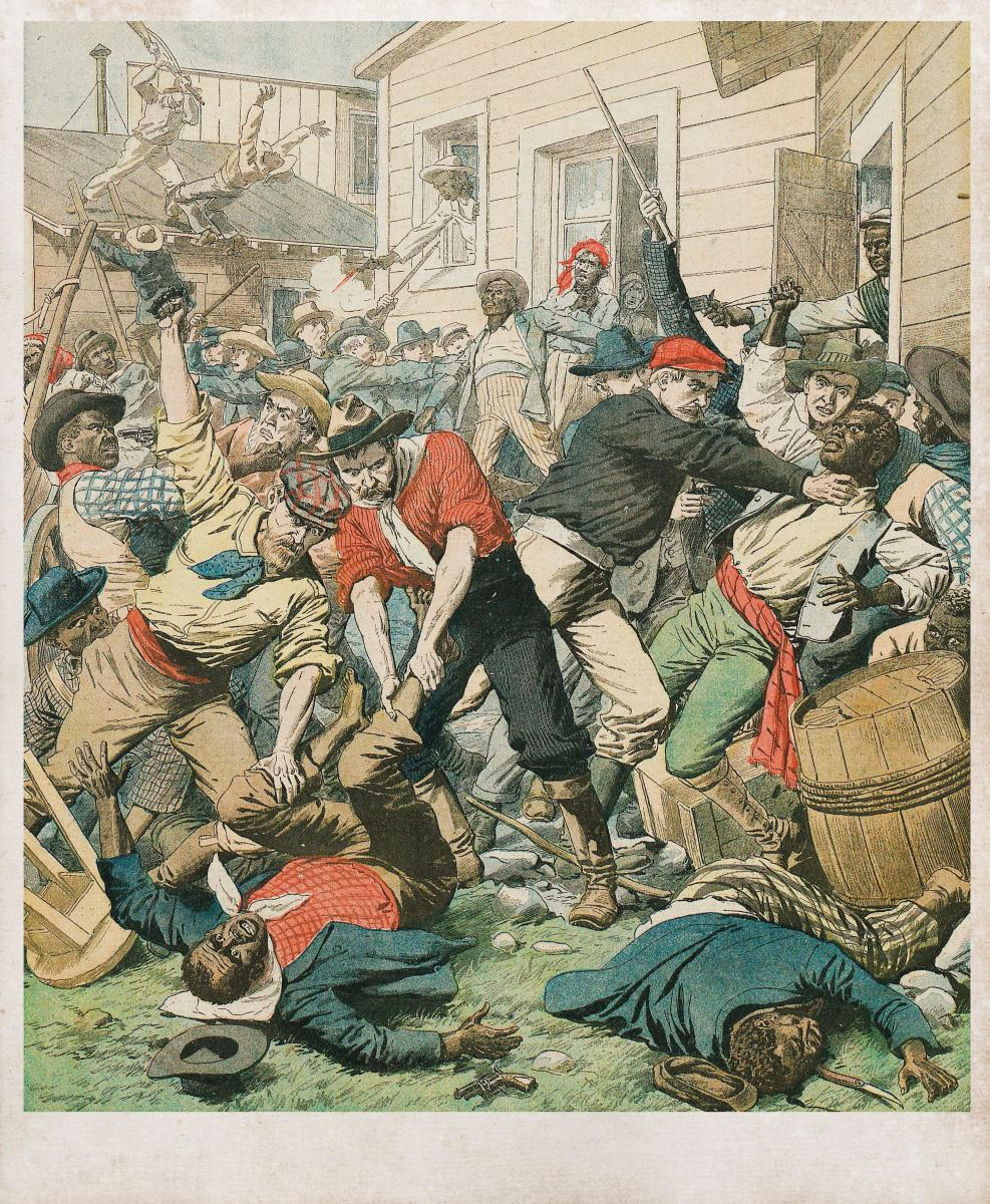 This illustration of the 1898 Wilmington massacre typifies how publications of the time promoted misleading characterizations of the incident as a 'race riot' or a Black insurrection.