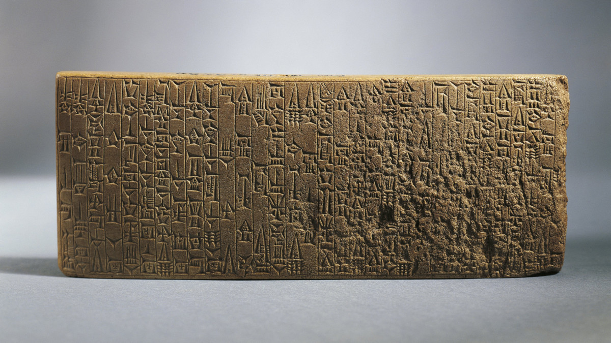 Backside of tablet with writings about the works realized by King Hammurabi (circa 1792-1750 B.C.).