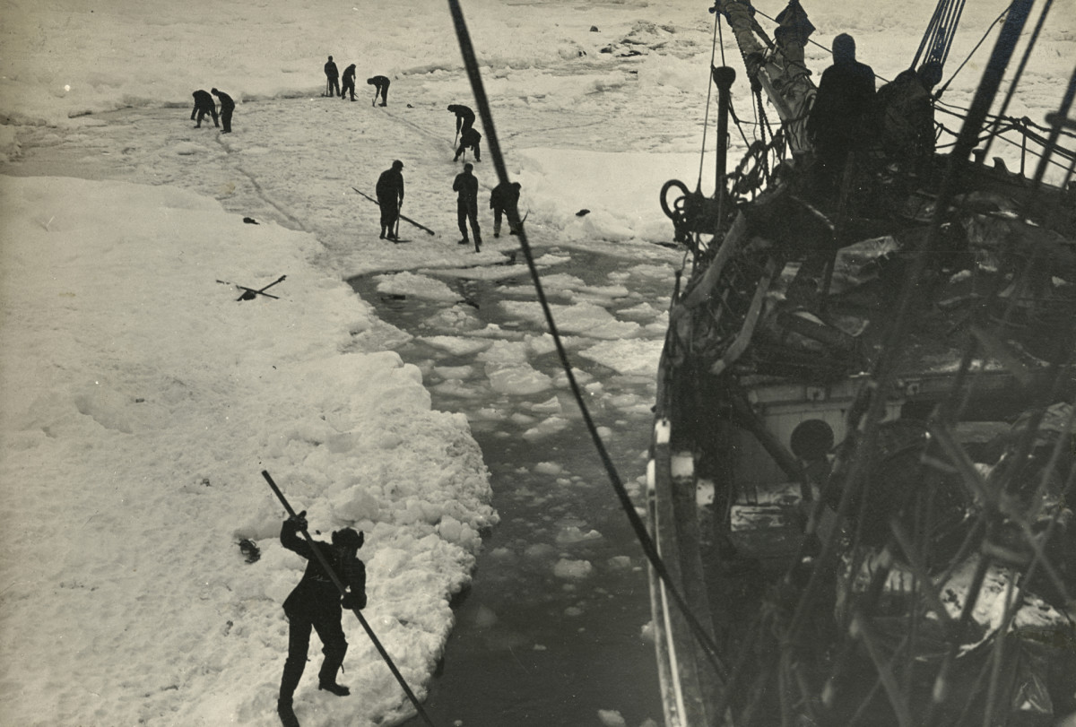 Strenuous endeavors are made to free the Endurance from the ice, February 1915.
