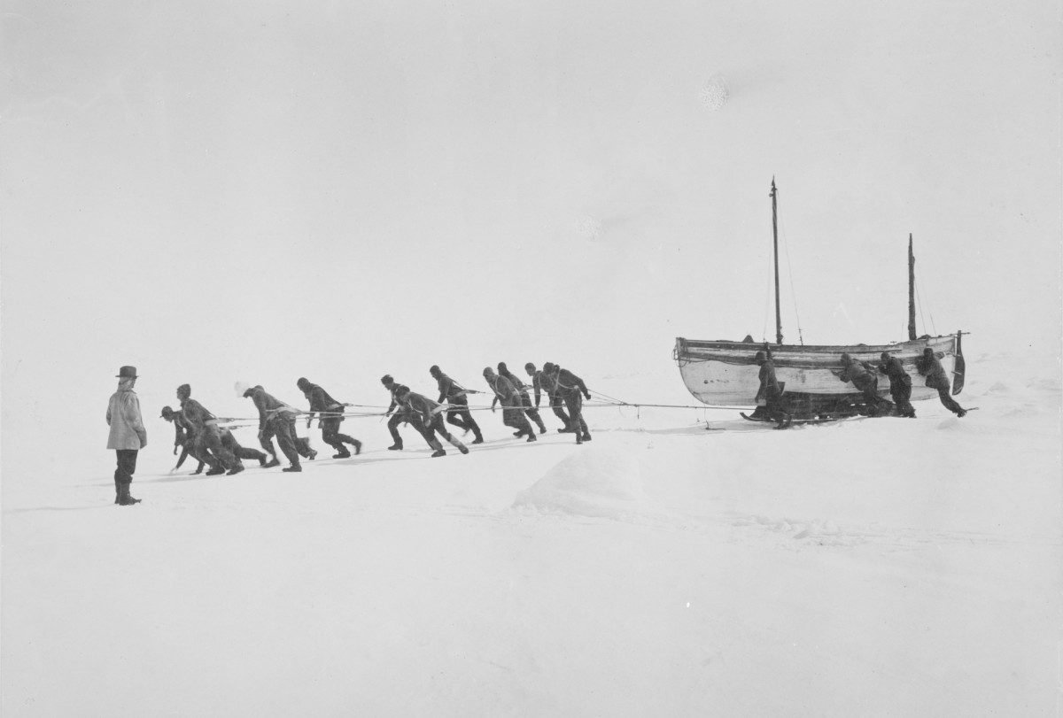 Relaying the James Caird across the ice, Antarctica, November 1915.