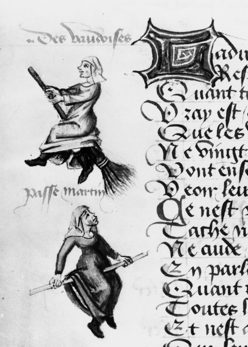 Illustrations of witches on broomsticks, c. 1440.