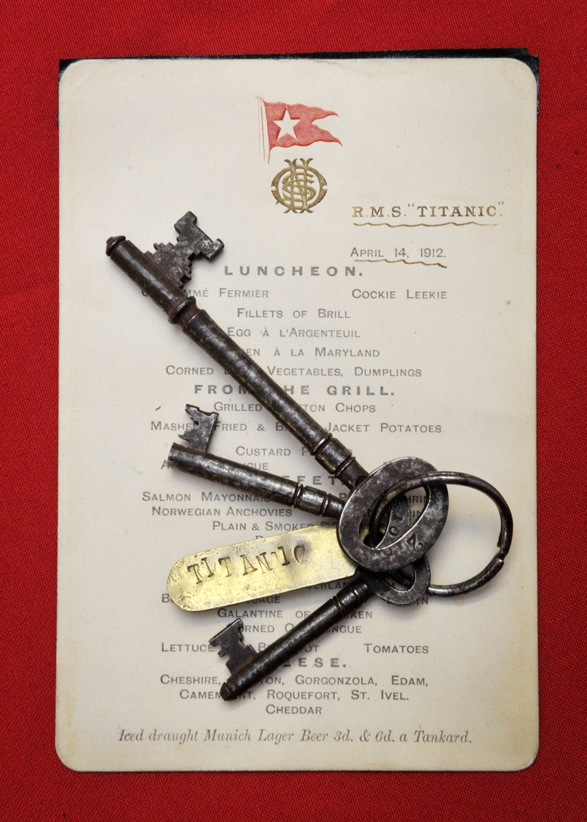 A menu given to first-class passengers on the day of the sinking of the Titanic and a set of keys used by Titanic crewman Samuel Hemming to unlock the door where the lifeboat lanterns were held after he was ordered by the ship's captain to ensure all 15 lifeboats had lit oil lamps.