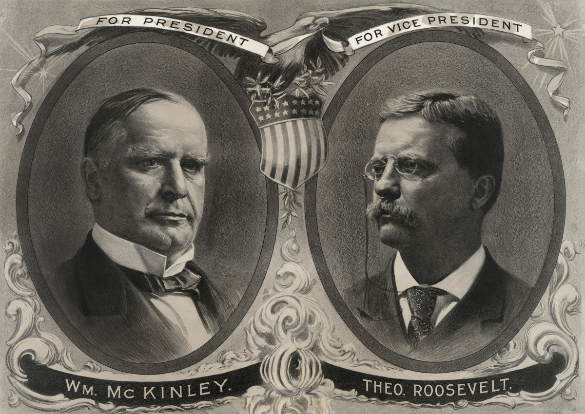 Presidential Election Campaign Banner, William McKinley for President, Theodore Roosevelt for Vice President