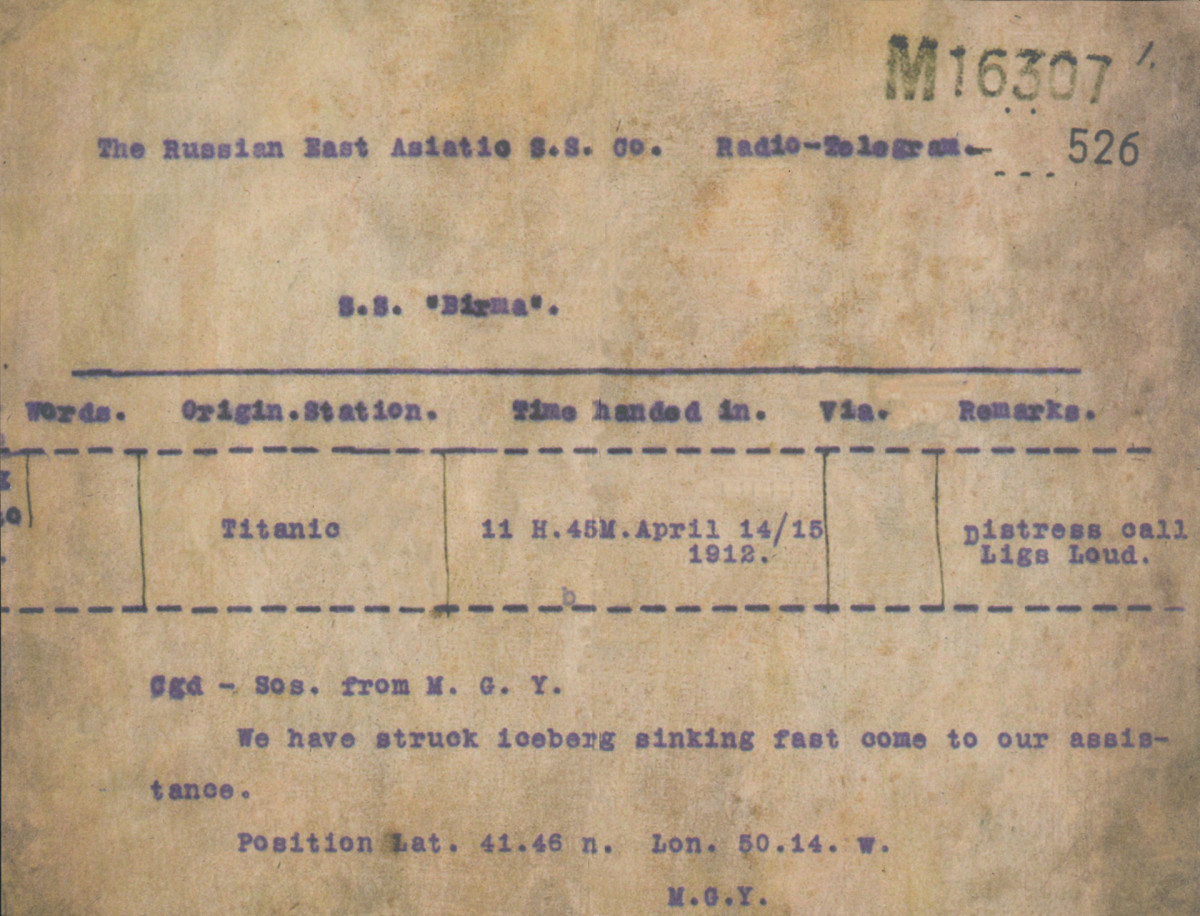 A telegram sent from the Titanic after it hit an iceberg