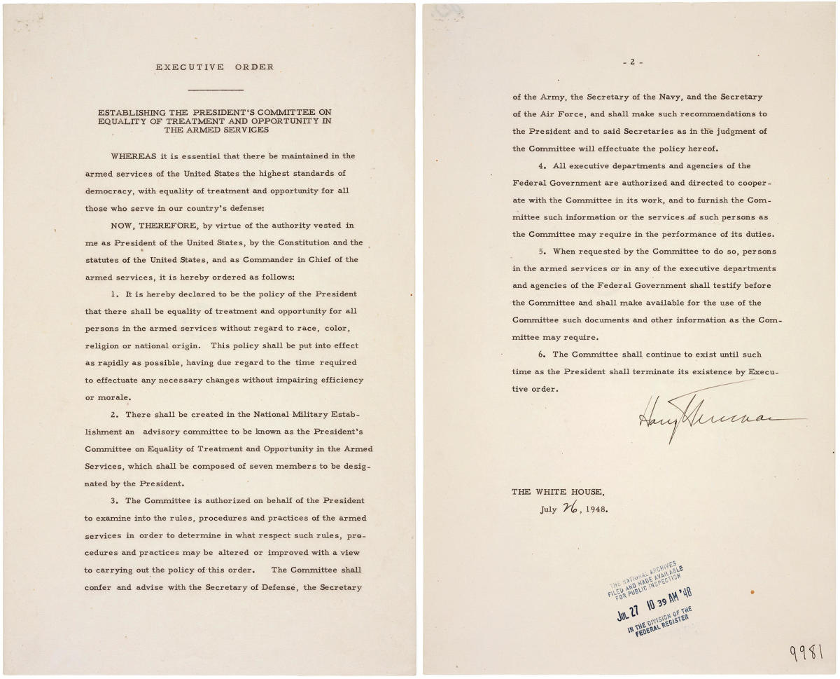 Original document of Executive Order 9981, signed July 26, 1948, desegregating the U.S.miitary