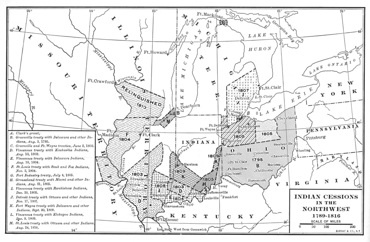 A map of Native American cessions in the Northwest from 1789 to 1816. Territories include lands ceded under the Fort Wayne Treaty (labeled C and K on the map), as well as Clark's Grant, Greenville Treaty, Vincennes Treaty, St Louis Treaty, Fort Industry Treaty, Grouseland Treaty, and the Detroit Treaty.