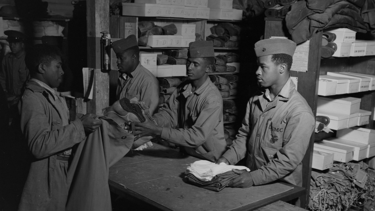 New African American recruits of the 51st composite Battalion, US Marine Corps. Camp Lejeune, New River, North Carolina, March 1943.
