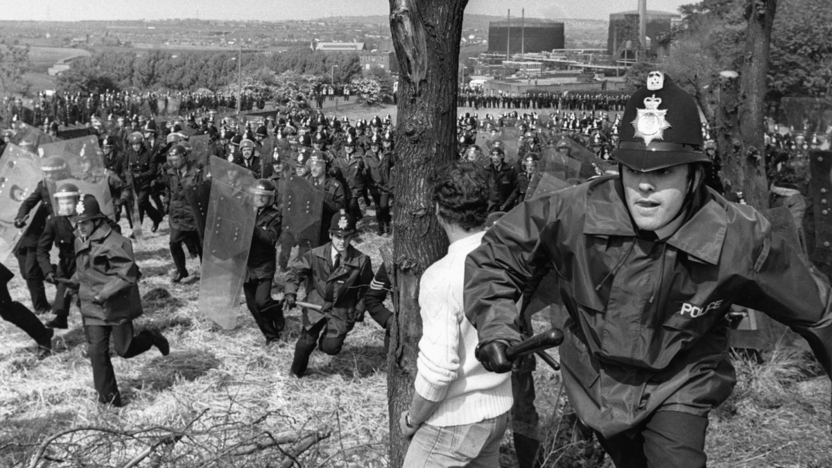 Police charging pickets outside the Orgreave Coking Plant, on June 18, 1984. The striking miners were met by huge lines of police who were brought in from all around the country.