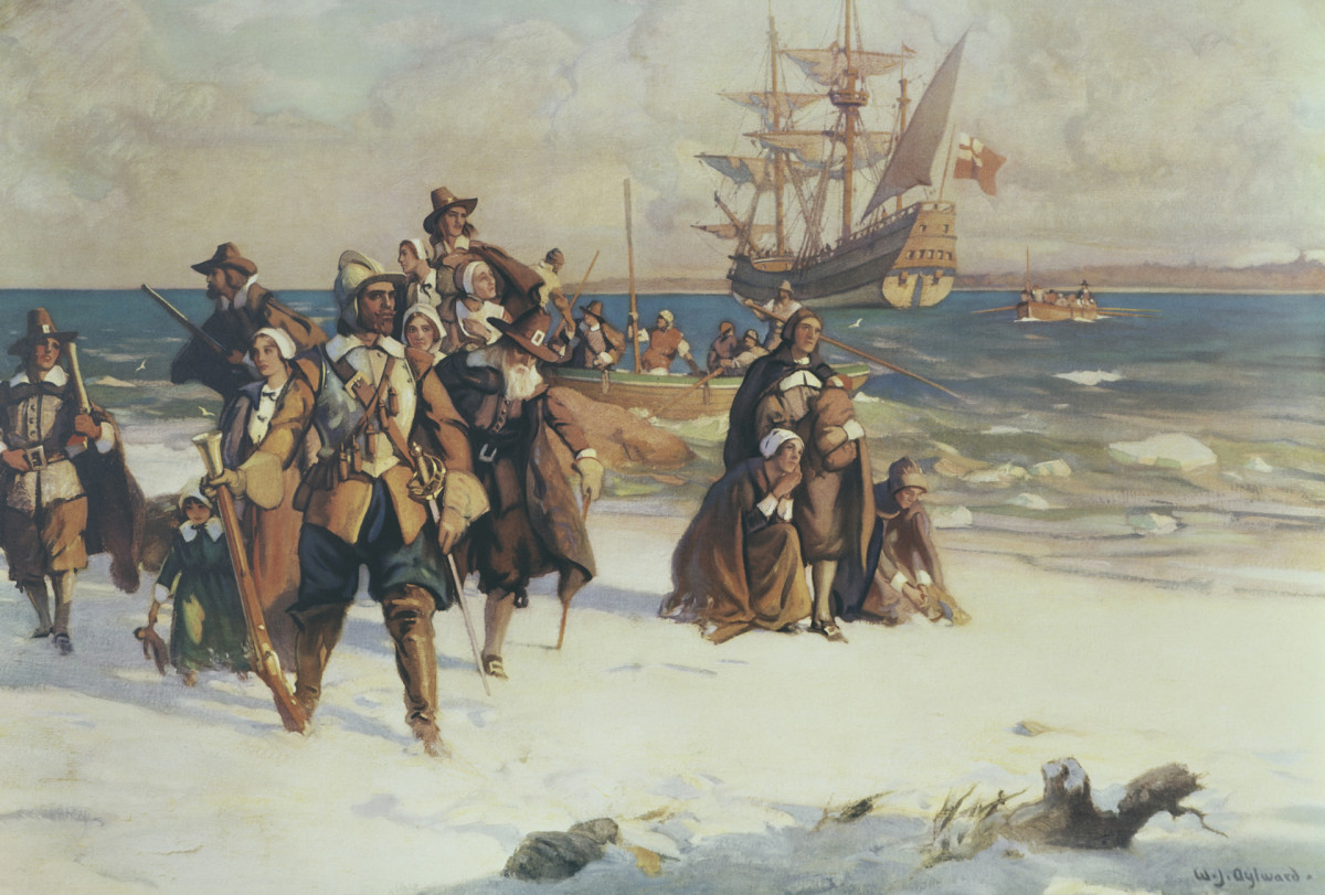 Pilgrims land on Plymouth, Mayflower