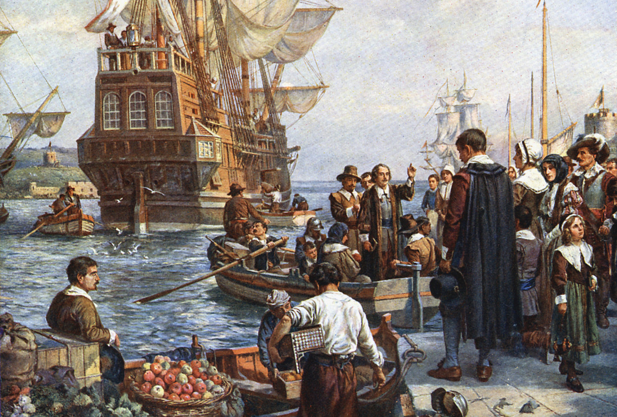 Pilgrims boarding the Mayflower