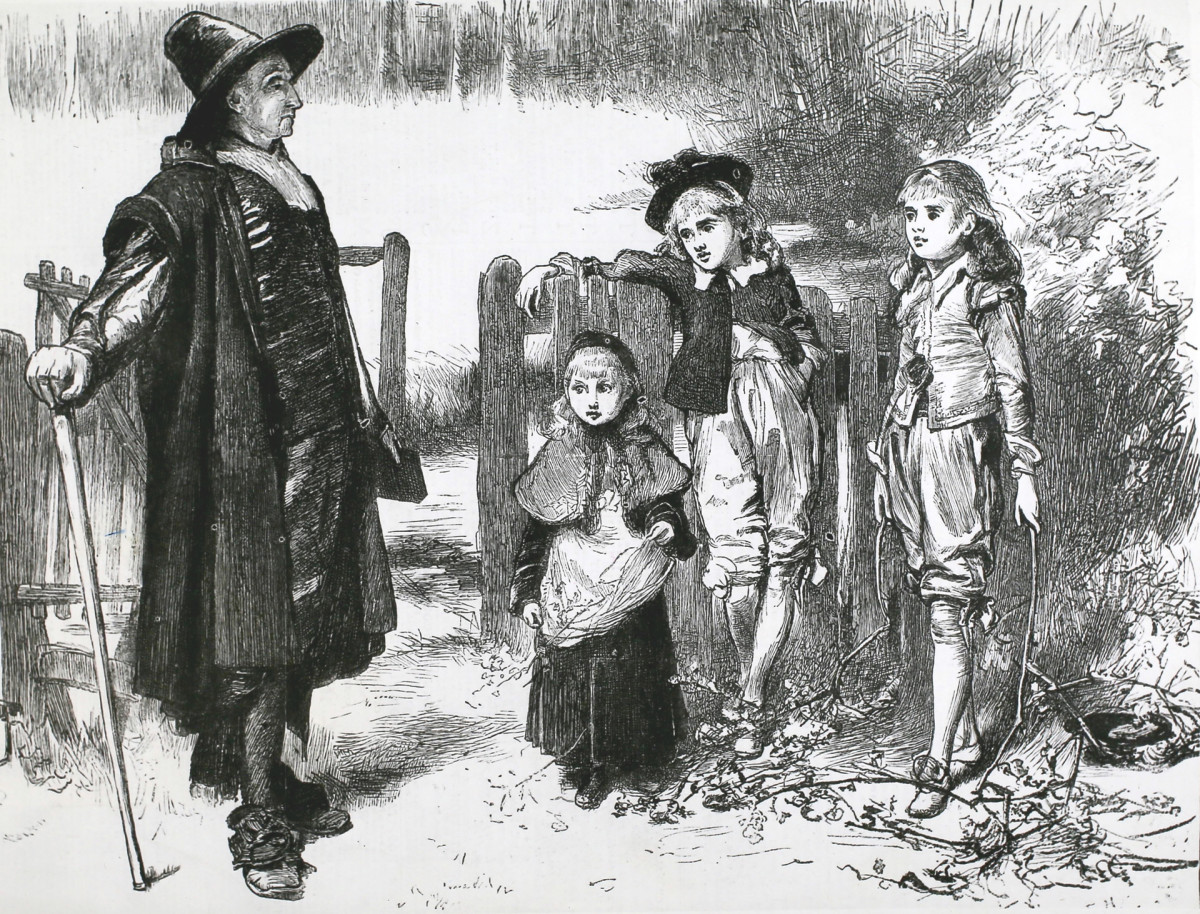 A Puritan rebuking children for picking holly during the holiday season.