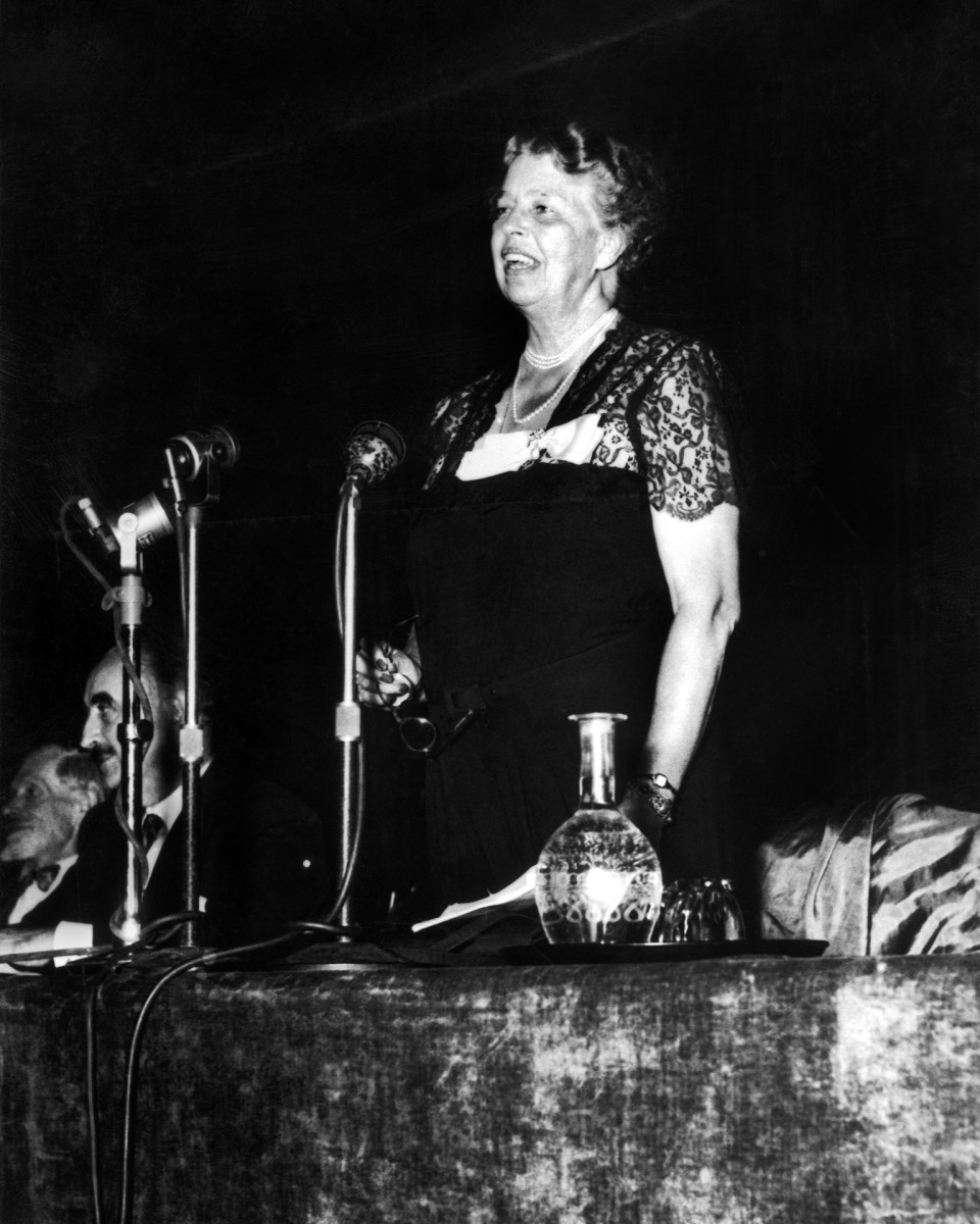 Eleanor Roosevelt speaking at the Conference For Human Rights in La Sorbonne, 1948.