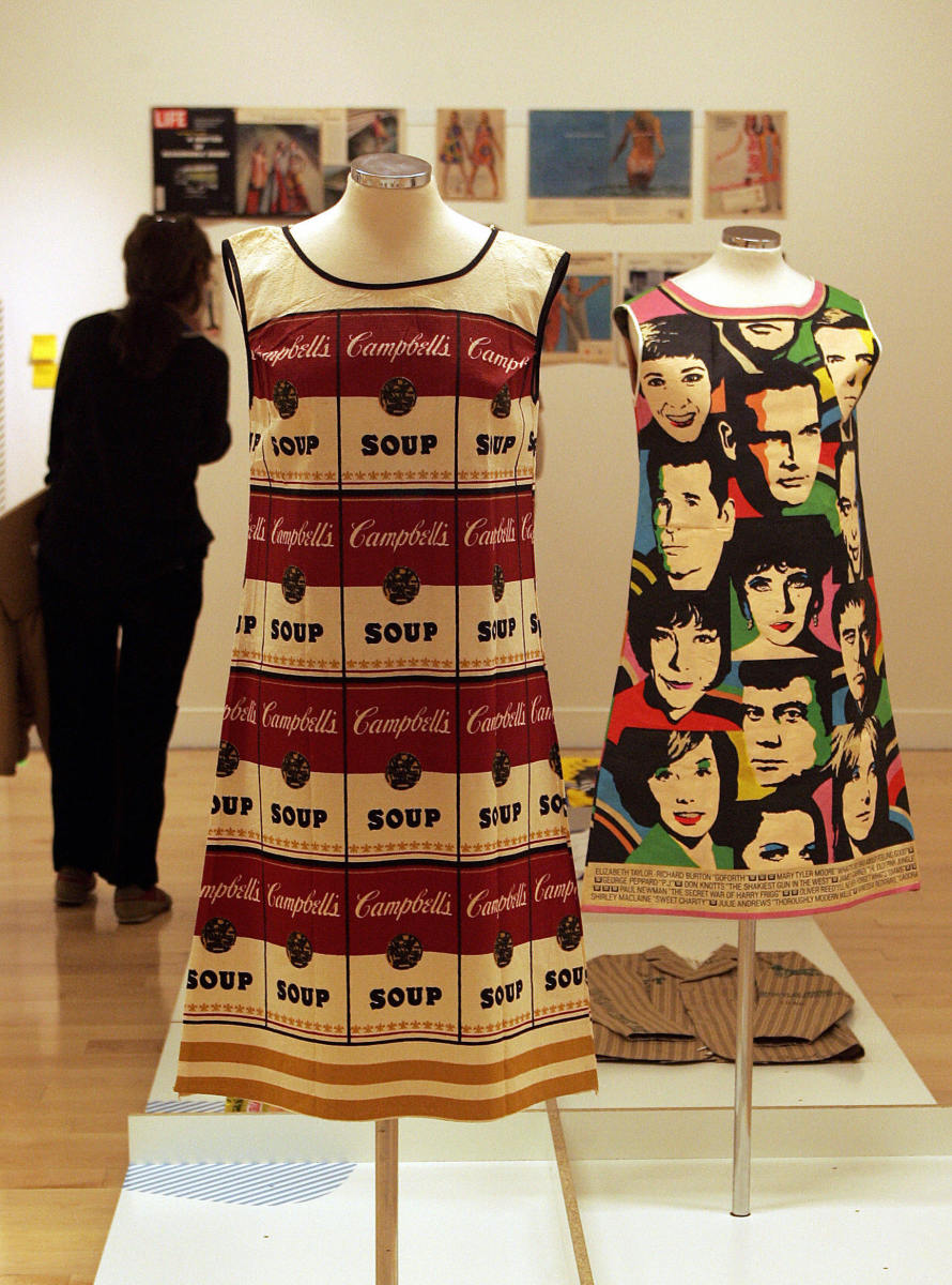 "Andy Warhol's legendary ""souper dress,"" modeled on Campbell's Soup labels, is show in an exhibition in Athens in 2007."