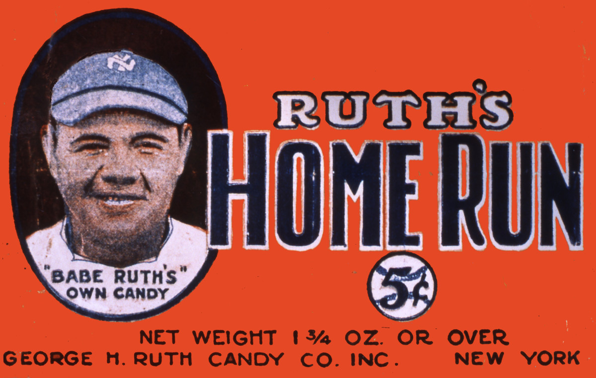 """Candy wrapper for Ruth's Home Run candy bar, showing a color portrait of a smiling Babe Ruth with text stating """"Babe Ruth's Own Candy"""""""