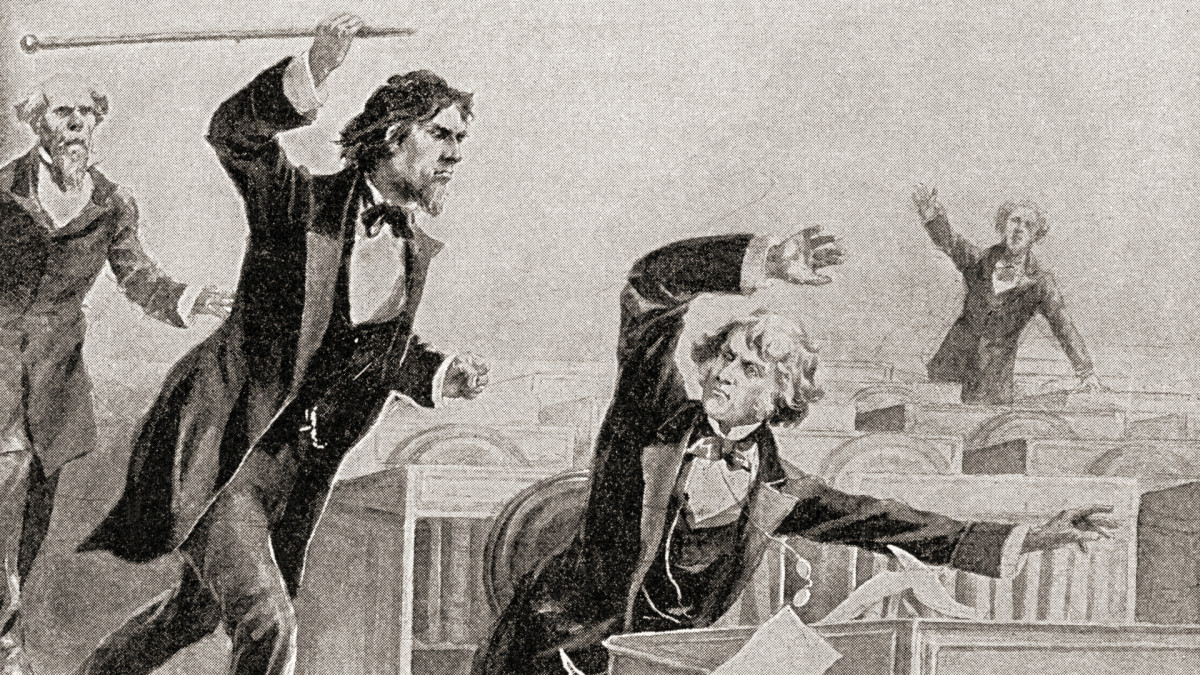 Preston Smith Brooks, a fervent advocate of slavery, assaulting Senator Charles Sumner, an abolitionist, with a cane on the floor of the United States Senate, on May 22, 1856