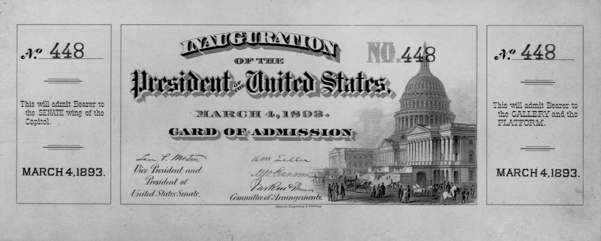 Inauguration admission card, March 4, 1893