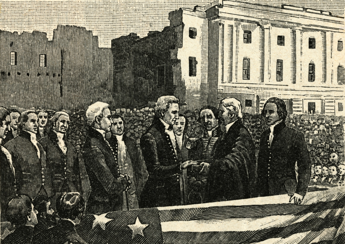 James Monroe's inauguration as the fifth President following the War of 1812.