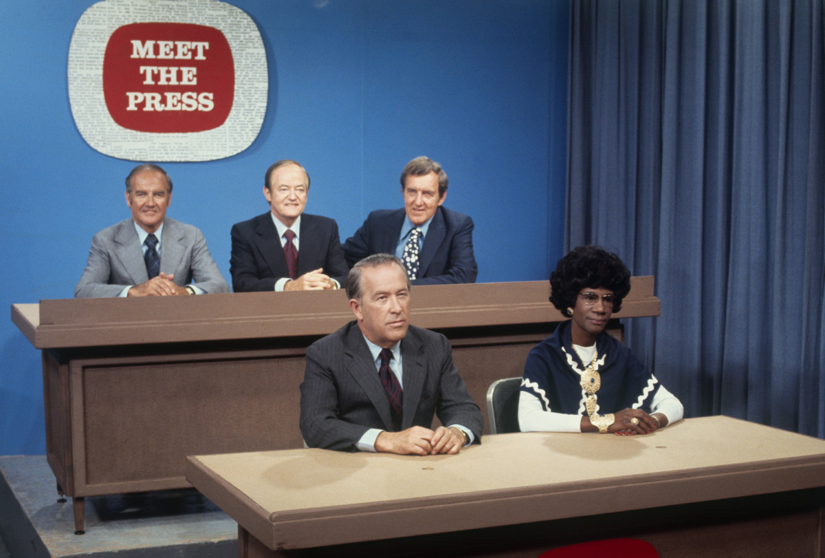 Democratic presidential nomination candidates on Meet the Press, 1972. (Left to right, top row) Sen. George McGovern (D-S.D.); Sen. Hubert Humphrey of Minnesota; Sen. Edmund Muskie of Maine; (left to right, bottom) Sen. Henry Jackson of Washington; and Rep. Shirley Chisholm of New York.