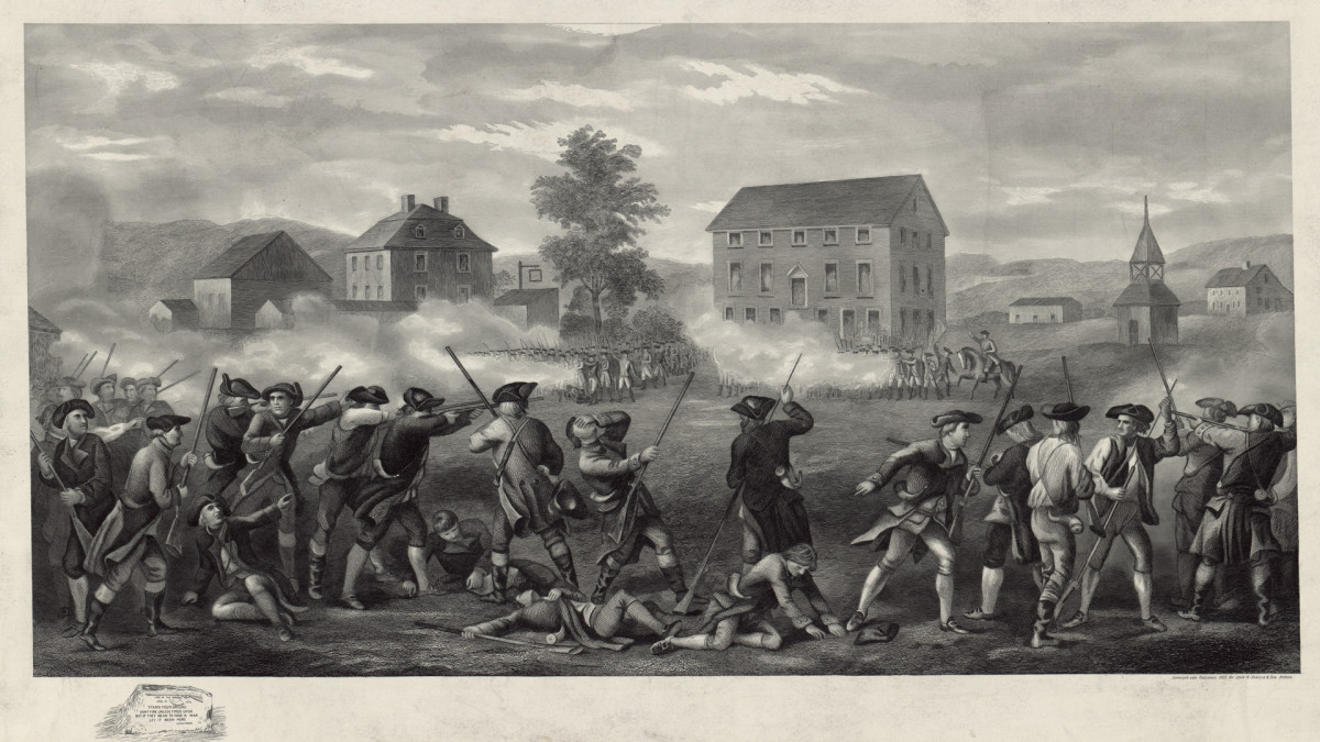 A line of Minutemen being fired upon by British troops in the Battle of Lexington, Massachusetts.