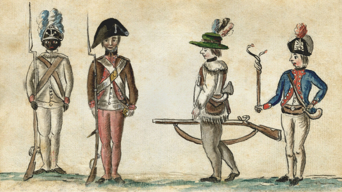 African American of the First Rhode Island Regiment; New England militiaman; frontier rifleman wearing a cloth, probably linen, Virginia hunting shirt, with fringe; French officer in a blue coat with red facing
