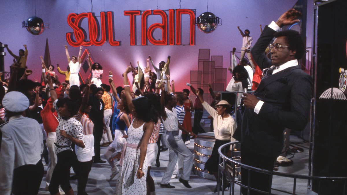 Don Cornelius and the Soul Train Dancers doing the signature Soul Train show ending, Black TV Shows That Helped Change Culture