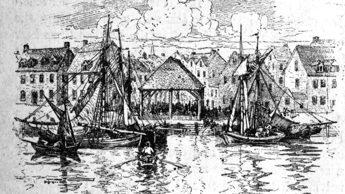 A slave market in New York harbor.