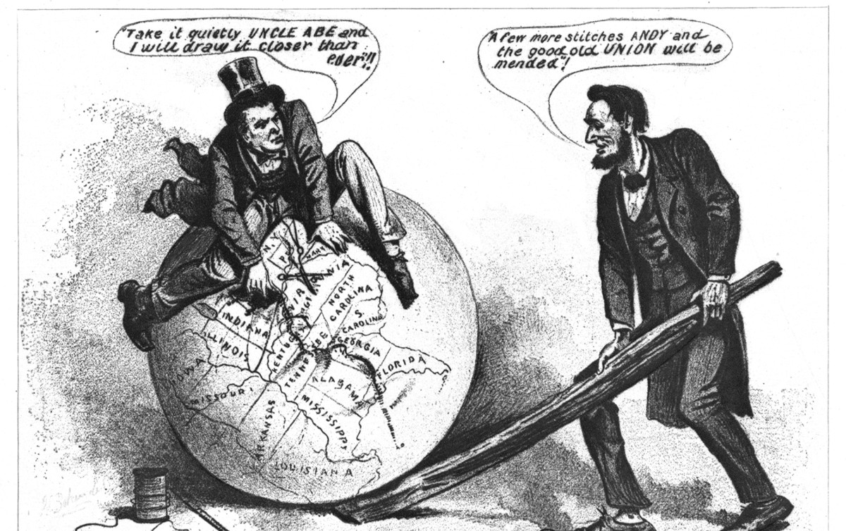 Presidential Reconstruction, Johnson and Lincoln political cartoon
