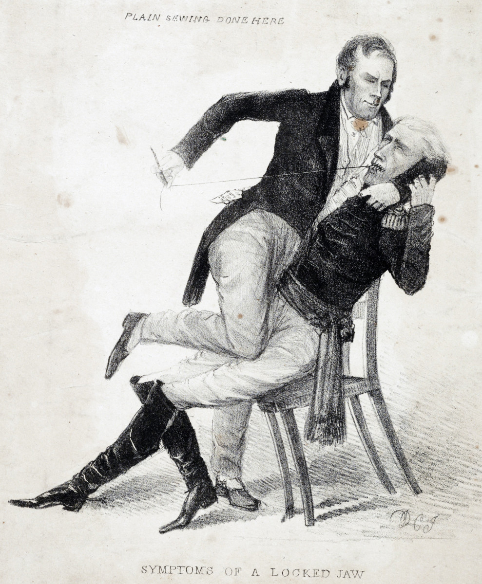 A political cartoon ofKentucky senator Henry Clay restraininga seated President Andrew Jackson and sewing up his mouth.The caricature reflects the bitter antagonism between Clay and Jackson during the protracted battle over the future of the Bank of the United States.