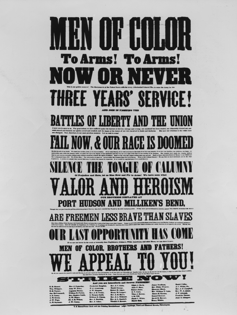 Poster recruiting black men to fight in the Union Army in the American Civil War, USA, circa 1863. The poster, which leads with the declaration 'Men of Color To Arms! To Arms!' is signed by many, including Frederick Douglass, a staunch believer in the equality of all people and a major figure in the abolitionist movement.
