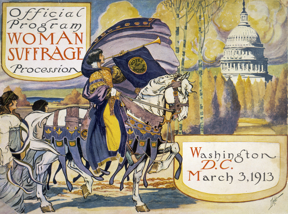 Cover of program for the National American Women's Suffrage Association procession in Washington, D.C. March 3, 1913.