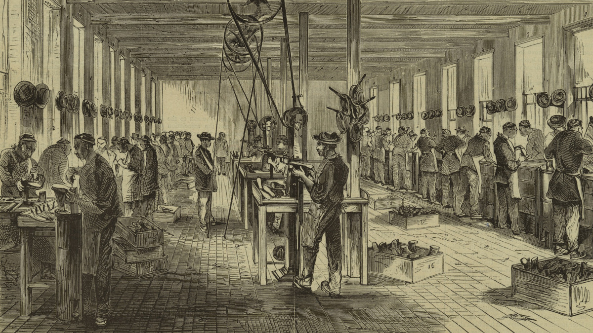 The Calvin T. Sampson's shoe factory in North Adams, Massachusetts showing Chinese immigrants fastening soles onto shoes, first published in Harper's Weekly for an article relating to worker strikes and Chinese laborers, c. 1870.