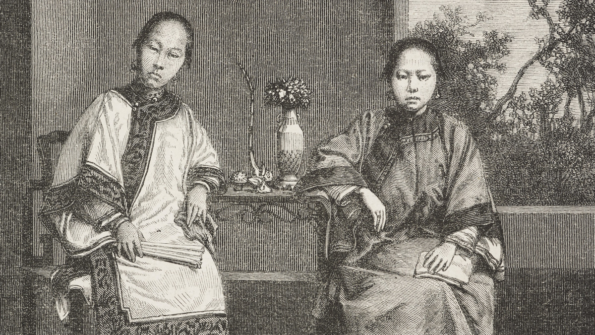 Chinese women, shopkeepers' wives, in San Francisco, mid-19th century.